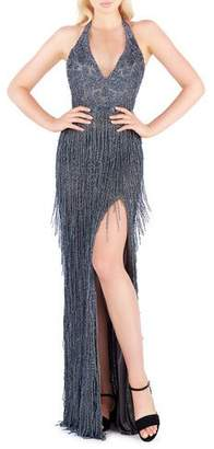 Mac Duggal Beaded Fringe Halter Gown with Thigh-Slit