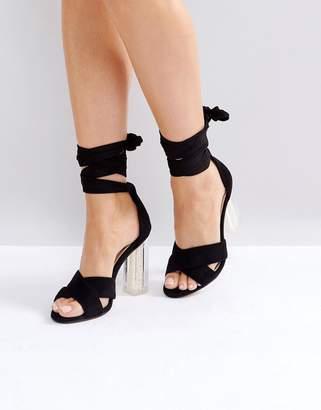 Lost Ink Black Pearl Heeled Sandals