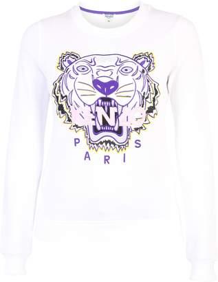 Kenzo White Sweatshirt With Logo Embroidery