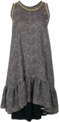 Fendi frill-trim flared dress
