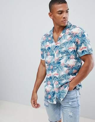 Urban Threads Flamingo Print Revere Collar Shirt