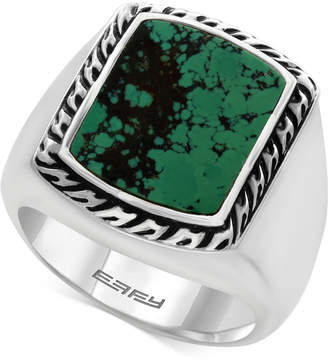 Effy Men Manufactured Turquoise Ring (3-9/10 ct. t.w) in Sterling Silver and Black Lacquer