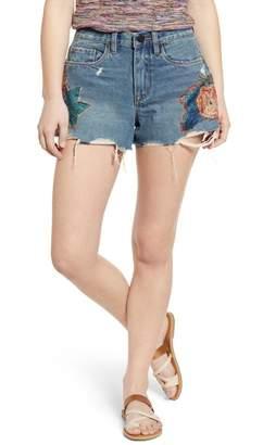 Blank NYC BLANKNYC Denim Floral Appliqu? Distressed Denim Shorts (Wild Flower)