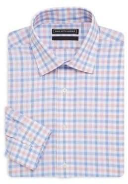 Saks Fifth Avenue BLACK Windowpane Cotton Dress Shirt