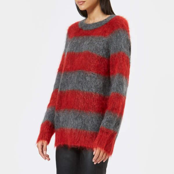 Women's Mohair Stripe Pullover Jumper Grey/Lipstick Stripe