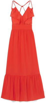 Vanessa Bruno Leda Ruffled Silk-crepe Maxi Dress - Coral