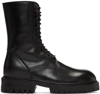 Ann Demeulemeester Black Buckle Lace-Up Boots