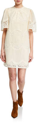 Anna Sui Sui by Victorian Voile Embroidered Shift Dress
