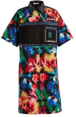 Miu Miu Flower Print Embellished Stretch Denim Dress - Womens - Black Multi