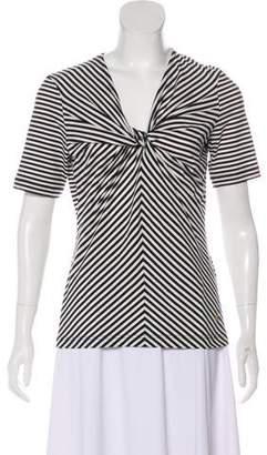 Rena Lange Striped V-Neck Top