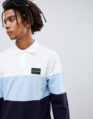 Calvin Klein Jeans long sleeve rugby polo with color block and logo detail