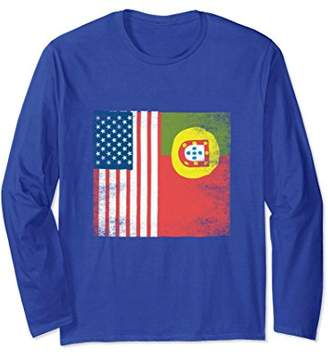 Portuguese American Flag Gift Long Sleeve US Pride Roots