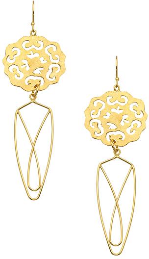 Wendy Mink Gold Cut-Out Flower Drop Earrings