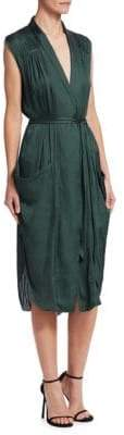 Halston Sleeveless Tie-Waist Pocket Shirtdress