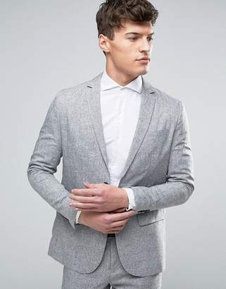 Jack and Jones Slim Suit Jacket in Salt and Pepper