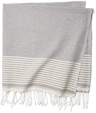 One Kings Lane Moroccan Cotton Throw - Gray/White