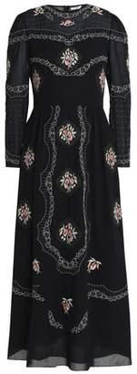 Vilshenko Embroidered Cotton-Voile Midi Dress