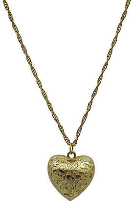 One Kings Lane Vintage Engraved Puffed Heart Pendant On Chain - Thanks for the Memories