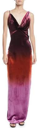 CUSHNIE Cowl-Neck Sleeveless Ombre Velvet Column Gown