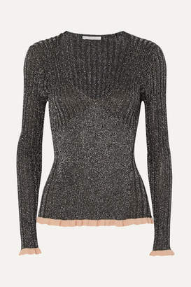 Chloé Ribbed Silk-blend Lurex Sweater - Black