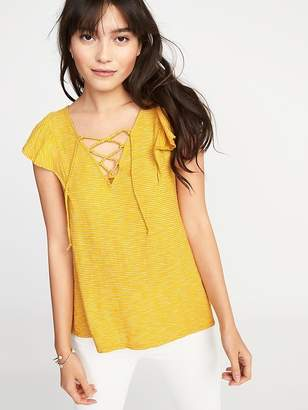 Old Navy Relaxed Lace-Up-Yoke Babydoll Top for Women