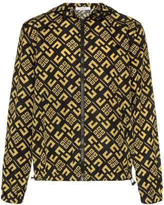Givenchy multi logo print hooded windbreaker jacket