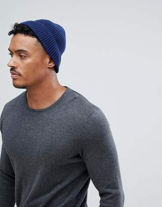Asos Design DESIGN fisherman beanie in navy recycled polyester