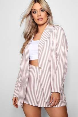 boohoo Plus Stripe Blazer + Short Co-ord