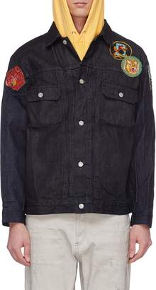 Children of the discordance Mix badge appliqué raw denim jacket