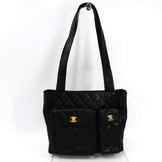 Chanel Black Quilted Caviar Leather Pocket Tote Bag (SHA-12229)