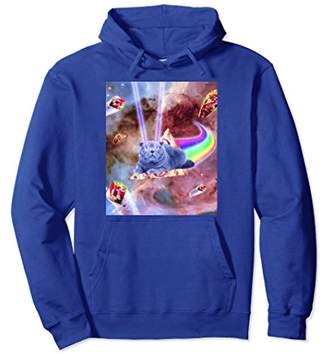 Laser Eyes Space Cat Riding Rainbow Pizza Hoodie