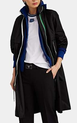 Prada Women's Contrast-Trimmed Tech-Satin Long Jacket - Black