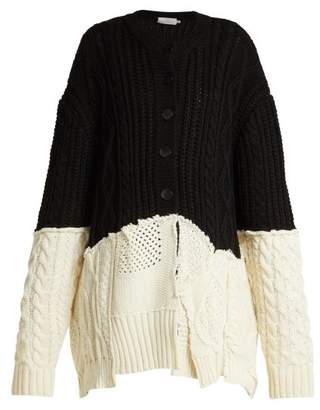 Preen by Thornton Bregazzi Myra Contrast Panel Wool Blend Cardigan - Womens - Black White