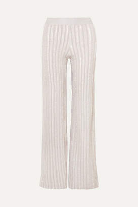 Herve Leger Striped Metallic Knitted Wide-leg Pants