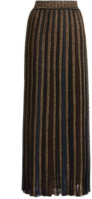 Missoni Metallic Striped Knitted Skirt - Womens - Black Gold