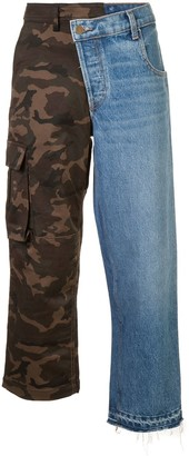 Monse denim and camouflage patchwork jeans