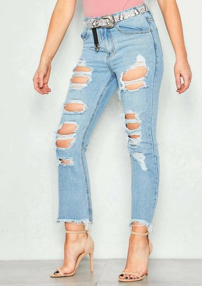 Ever New Sophia Denim Distressed High Waist Mom Jeans