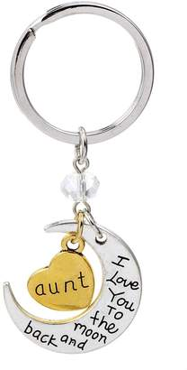 """Bling Stars """"Mom I Love You To the Moon and Back"""" Family Heart Keychain Keyring"""
