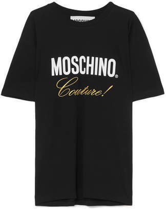 Moschino Embroidered Printed Cotton-jersey T-shirt - Black