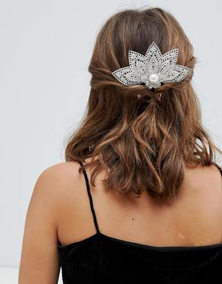 Asos DESIGN back hair comb with filigree and jewel design in silver