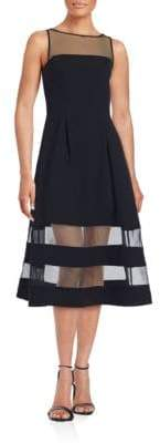 Aidan Mattox Solid Illusion Neckline Dress