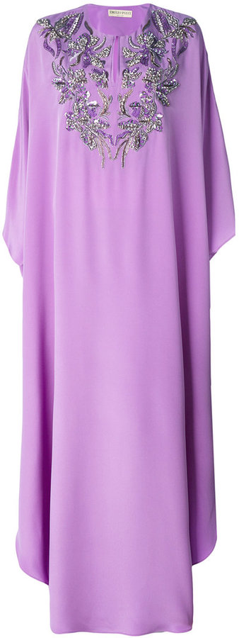 Emilio Pucci embroidered neck kaftan dress