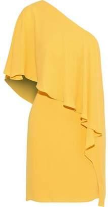 Halston One-shoulder Ruffled Crepe De Chine Dress