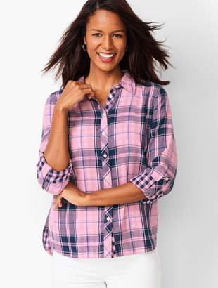 Talbots Classic Cotton Shirt - Lapis Plaid