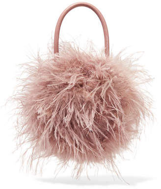 Loeffler Randall Zadie Feather And Leather Tote - Blush