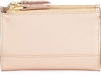 Neiman Marcus Saffiano Double-Zip Fold-Over Wallet