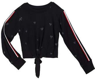 Flowers by Zoe Girl's Enzyme Wash Heart-Print Tie Front Sweatshirt, Size S-XL