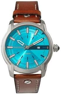 Diesel Armbar Teal Sunray Brown Leather Watch