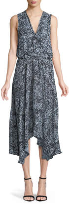 Parker Sleeveless Floral Handkerchief Midi Dress