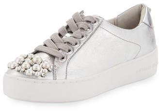 MICHAEL Michael Kors Poppy Embellished Metallic Sneakers